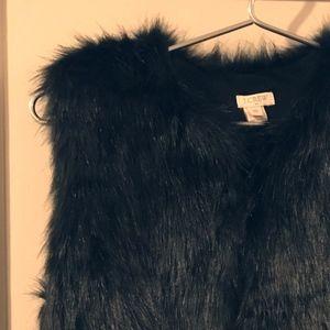 Faux Fur Vest in Black